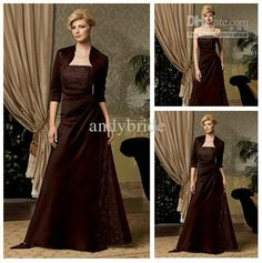 Wholesale 2012 Hot Sale Elegant Strapless Sheath Free Jacket Lace Satin Mother of the Bride Wedding Dresses, Free shipping, $104.6-117.6/Piece | DHgate