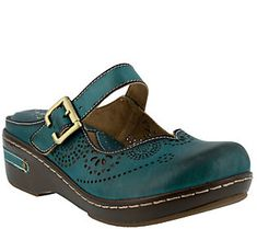Spring Step L'Artiste Open Back Leather Clogs -Aneria