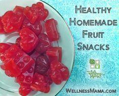 Homemade Fruit Snacks-Healthy homemade fruit snacks packed with nutrients from gelatin, fruit, kombucha (optional) and juice from WellnessMama.com #snacks #grainfree #wellness