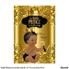 Little Prince is on his way Baby Shower Ethnic 5x7 Paper Invitation Card