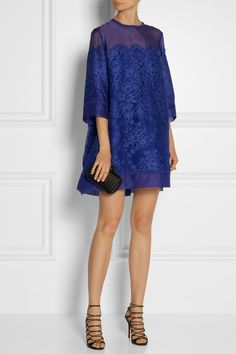 Elie Saab Lace and organza mini dress | Bottega Veneta The Knot intrecciato satin clutch | Christian Louboutin Aqueduchesse sandals