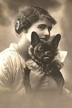 Vintage Kady with her French Bulldog
