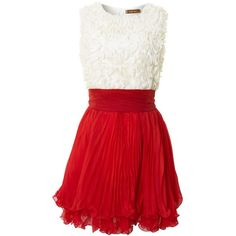 Jolie Moi Ruffle lace bodice skater dress ($38) ❤ liked on Polyvore featuring dresses, vestidos, short dresses, red, clearance, short red dress, red dress, lace mini dress and lace dress
