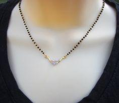 CZ Mangalsutra Black Beads Chain Wedding Chain Indian by Alankaar