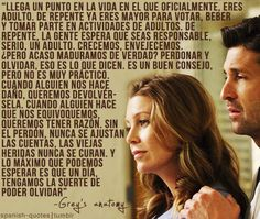 frases de grey's anatomy - Buscar con Google Greys Anatomy Frases, Greys Anatomy Cast, Grey Anatomy Quotes, Derek Shepherd, Real Quotes, Famous Quotes, Love Quotes, Grey's Anatomy Wallpaper Quotes, Meredith And Derek