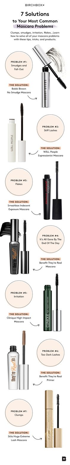 Mascara is universally beloved by just about everyone. But as much as we rely its ability to plump, lengthen and volumize our lashes, we sometimes avoid applying it due to unfortunate smudges, clumps, irritation, and flakes. That is, until now. Click the image and find the best products and tricks to solve your most-common mascara problems.