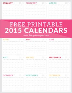Free Printable 2015 Calendars! Love the color and simplicity.
