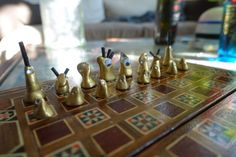 DIY Chess figures made from polymer clay and shrinking tube, in gold and white