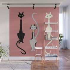 Buy Midcentury Modern Sleek And Stylish Parisian Kitty Cat Trio Wall Mural by sunnybunny. Worldwide shipping available at Society6.com. Just one of millions of high quality products available.