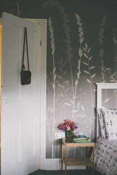 Hannah Nunn: In The Tall Grass in silver #large #wallpaper #wallcovering #mural #tall #grass #meadow #hanah #nunn #grey #gray #bedroom