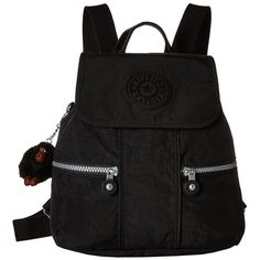 Kipling Kieran Small Backpack (Black) Backpack Bags (7745 DZD) ❤ liked on Polyvore featuring bags, backpacks, black, strap backpack, nylon drawstring bags, lightweight daypack, lightweight rucksack and monkey backpack