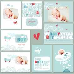 baby boy airplane birth announcement