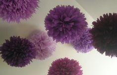 "Purple poms (17"", 14"", 9"")"