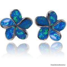 #Kolczyki kwiatki z niebieskim opalem #biżuteria #jewelry #earrings