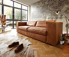 SOFA KARLY #Wohnzimmer www.delife.eu/lifestyle-produkte/sofas-sessel/sofas/sofa-karly-220x100-cm-walnuss-echtleder-3-sitzer-ledercouch/