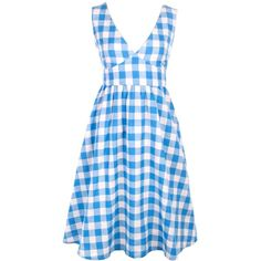 Mata Traders New Fairtrade Gingham Print Sun Dress (£49) ❤ liked on Polyvore featuring dresses, gingham, v neck sundress, vneck dress, sundress dresses, blue sun dress and blue dress