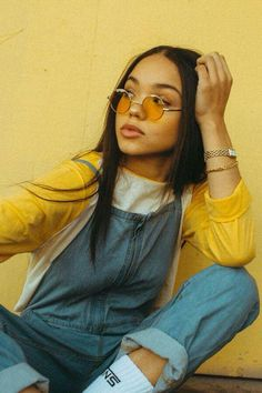 yellow sunglasses.Denim overall ideas White and yellow sweater. looks for 2018. #Eyewear, Young women.