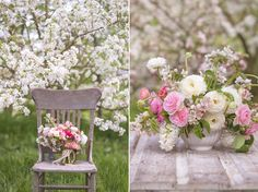 Crab apple blossom and spring flower bouquet  by: Floret Flower Farm.   Photos by : Georgianna Lane