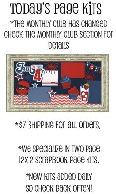 We specialize in original 2 page 12x12 Scrapbook Page Kits | All of our shapes and titles are only available here!
