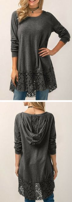 Lace Panel Long Sleeve Hooded Collar Blouse.#blouse#fashion#top