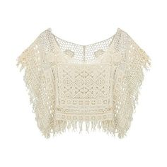Crochet Summer Sweater With Fringe Trims ($5) ❤ liked on Polyvore featuring tops, sweaters, stylemoi, shirts, crochet fringe top, summer sweaters, white fringe sweater, fringe shirt and summer shirts