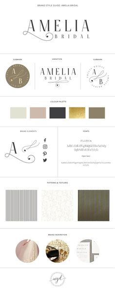 Brand Style Board for Amelia Bridal | This brand style board for a wedding business has a gold, black, and brown color palette. If you require branding services for your wedding business, click through to find out more. Wonderland Graphic Design - Styling your way to a better business!