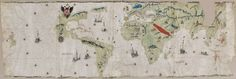 Mapamundi, de Juan Vespucci. Sevilla. Manuscrito sobre pergamino, h. 1526