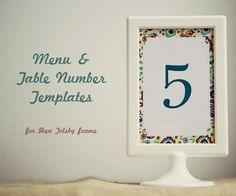 Wedding Table Number template and Menu frame