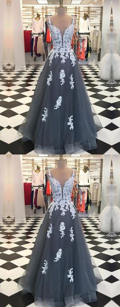 V Neck Grey Tulle Prom Dress With White Lace #promdressesonline#promdresses#promdresses2018#greypromdresses#lacepromdresses#cheappromdresses#eveningdresses