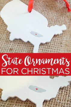 State Christmas ornaments are a great way to decorate your tree and make great gifts! See how to make a state heart ornament here! Holiday Gift Tags, Holiday Crafts, Holiday Ideas, Christmas Projects, Christmas Diy, Merry Christmas, Diy Gifts, Handmade Gifts, Christmas Activities For Families