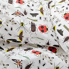 Shop Organic Charley Harper Bug Sheet Set.  Adorned with the timeless artwork of Charley Harper, this sheet set has a multi-colored print pattern featuring the renowned wildlife artist's most memorable bug designs.