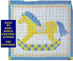 Digital Download Crocheted Rocking Horse Baby Afghan Pattern - Vintage Cuteness…