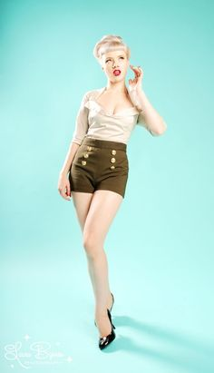 217 Military Shorts in Green with Gold Buttons from Pinup Couture