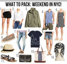 what to pack: weekend in the city! (The Good Life For Less) Weekend Trip Outfits, Summer City Outfits, Weekend Trip Packing, Travel Outfit Summer, Travel Packing, Summer Travel, Travel Capsule, Travel Outfits, Travel Wardrobe