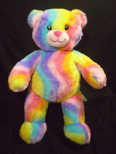 "BABW Build a Bear 16"" Sherbert Color Rainbow Tye Dye TEDDY Plush Purple Pink ... #AllOccasion"