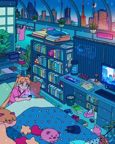 Aesthetic Drawing, Aesthetic Art, Aesthetic Anime, Live Wallpapers, Animes Wallpapers, Bedroom Drawing, Sailor Moon Wallpaper, Sailor Moon Cosplay, Japon Illustration