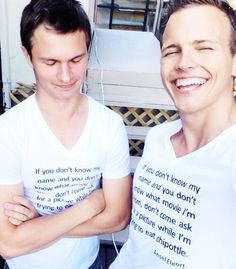 Ansel Elgort & Jerome Jarre... Can I just buy that shirt? It would be pretty awesome.