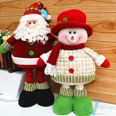 2014 Enfeites De Natal Lovely Christmas Decoration Supplies Red And Green Santa Claus Snowman Flexible Legs Ornament Gift (Mainland)) Diy Christmas Angel Ornaments, Christmas Elf Doll, Country Christmas Decorations, Christmas Sewing, Felt Ornaments, Christmas Angels, Christmas Crafts, Xmas, Holiday Decor