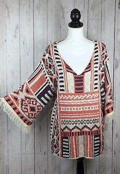Chelsea & Violet Sweater Womens Sz M Aztec Loose Knit Coral Blue Ivory Fringe