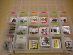 This is pure genius! A great way to organize your Boardmaker pictures. Craft boxes have just the right size compartments. Classroom Organisation, School Organization, Classroom Management, Autism Classroom, Special Education Classroom, Speech Language Therapy, Speech And Language, Speech Therapy, Pecs Communication