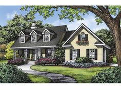 Country House Plan with 1793 Square Feet and 3 Bedrooms(s) from Dream Home Source | House Plan Code DHSW67446