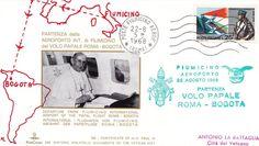 Postal emitida con motivo del viaje del Papa Pablo VI a Bogotá, el 22 de agosto de 1968.