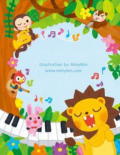 [삼호뮤직] 반짝반짝 피아노 1~5 표지 – 미니민 MinyMin Cute Animal Illustration, Children's Book Illustration, Kids Learning Apps, Teacher Cartoon, Animal Doodles, Cute Cartoon Animals, Paper Artwork, Album Design, Cute Icons