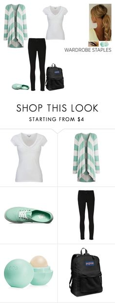 """""""Wardrobe Staple: White T-Shirt"""" by ilovecats-886 ❤ liked on Polyvore featuring White Stuff, Vans, Frame, Eos, JanSport and WardrobeStaple"""