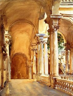 John Singer Sargent watercolor  Genoa  he used 3 colors: yellow ochre, ultramarine and alizarin crimson (I've heard)