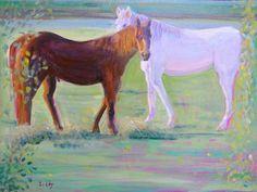 "SALLY RUDDY, ""Horse Lovers,"" Oil on Canvas, 18"" x 24"""