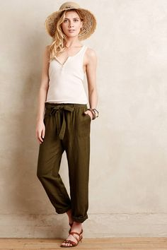 Linen Paperbag Trousers by Cartonnier #anthroregistry