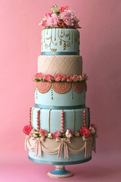 Tiered cake in teal....looks divine.