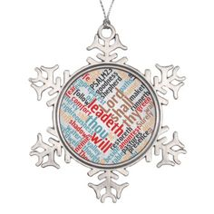 #Christian Psalm 23 on Silver Snowflake Pewter Christmas Ornament - #Xmas #ChristmasEve Christmas Eve #Christmas #merry #xmas #family #kids #gifts #holidays #Santa