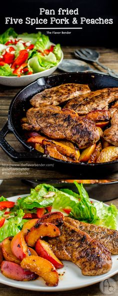 Pan Fried Five Spice Pork And Peaches -Here's your answer to an infinitely flavourful yet quick and easy, 30 minute meal! Pork chops pan fried with Five Spice powder and served with caramelized, sweet peaches! Dinner's ready in less than 30 minutes! CLIC